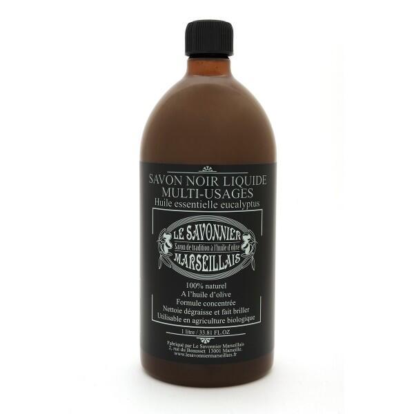 Savon noir liquide multi-usages - Huile essentielle eucalyptus (1 litre) Le Savonnier Marseillais