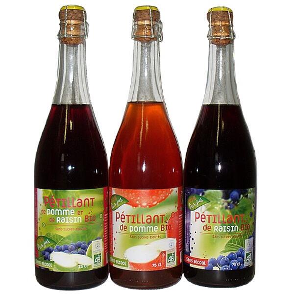 lots de pétillants bio : pomme, raisin, pomme-raisin bio - fructivia