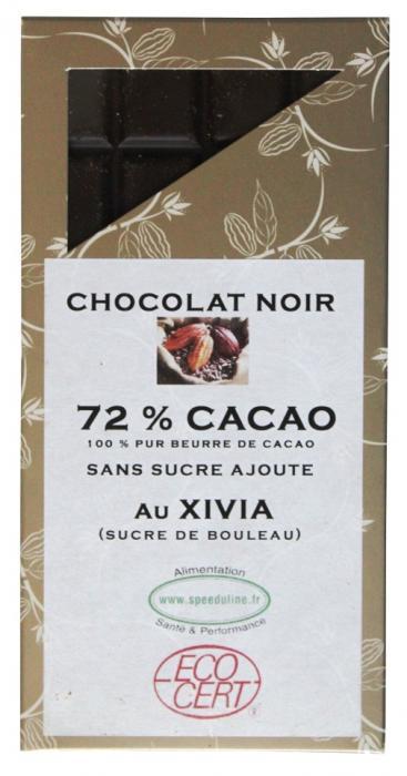 Chocolat noir 72% de cacao  au xylitol