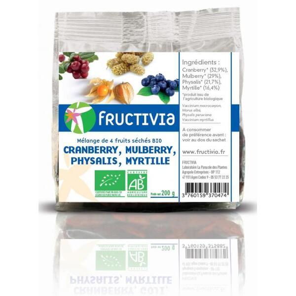 Mélange 4 fruits secs bio Fructivia: cranberry, mulberry, physalis, myrtille
