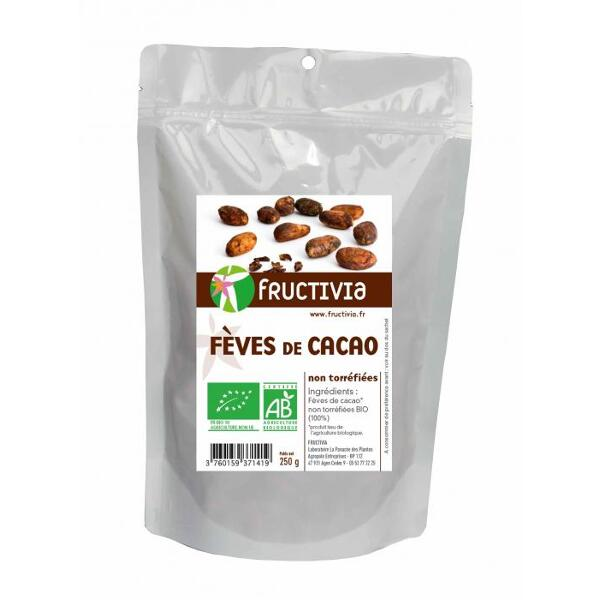 Feves de cacao bio et commerce equitable (doypack 250 g) - fructivia