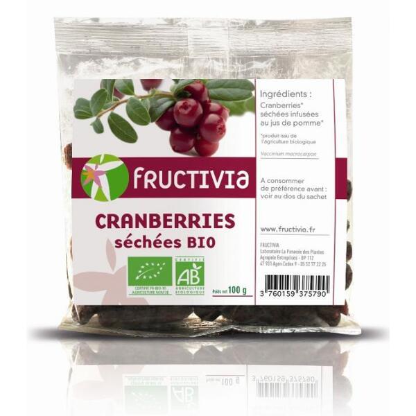 cranberries bio séchées 100g fructivia