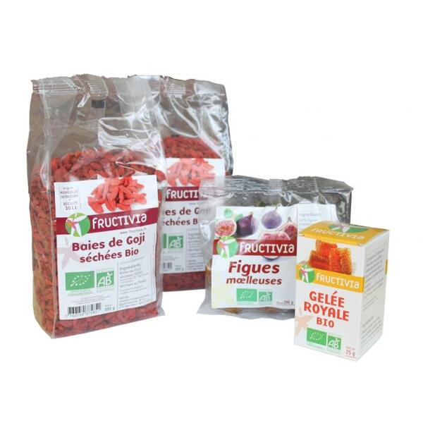 Offre exceptionnelle fructivia : 1kg de goji bio (2x500g) + 200g de figues moelleuses bio + 25 g de gelée royale bio pour 59€ seulement