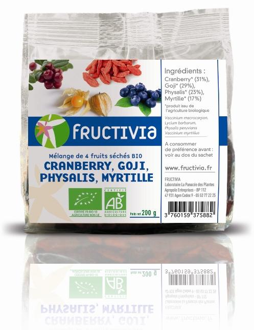 Mélange 4 fruits séchés bio fructivia: goji, cranberry, physalis, myrtille