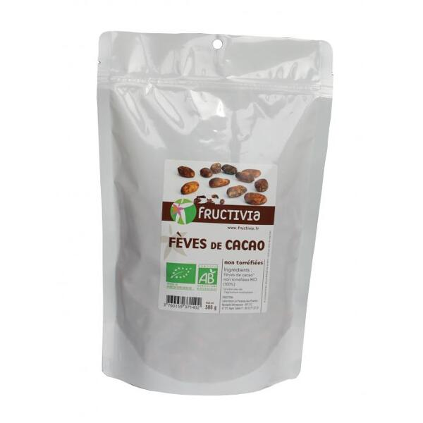 Feves de cacao bio et commerce equitable (doypack 500 g) - fructivia