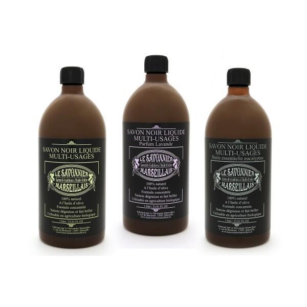Savon noir liquide multi-usages : lot de 3 parfums [naturel (1l), lavande (1l) & eucalyptus (1l)] - le savonnier marseillais