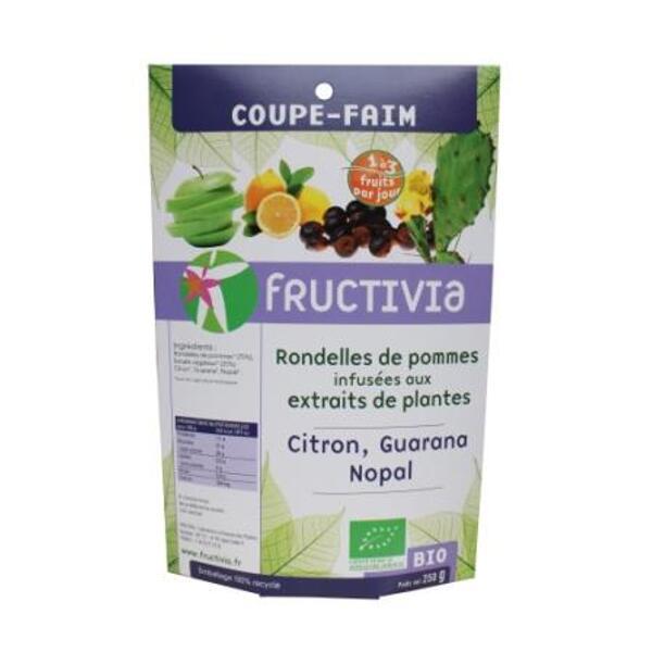 Pommes coupe-faim Bio fructivia - Rondelles réhydratées aux extraits de citron, guarana et nopal
