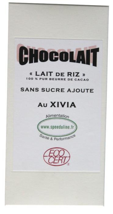 CHOCOLAT AU CACAO BIO ET AU LAIT DE RIZ ET XYLITOL