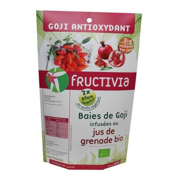 Baies de goji bio* enrichies en jus de grenade bio* 300g - fructivia