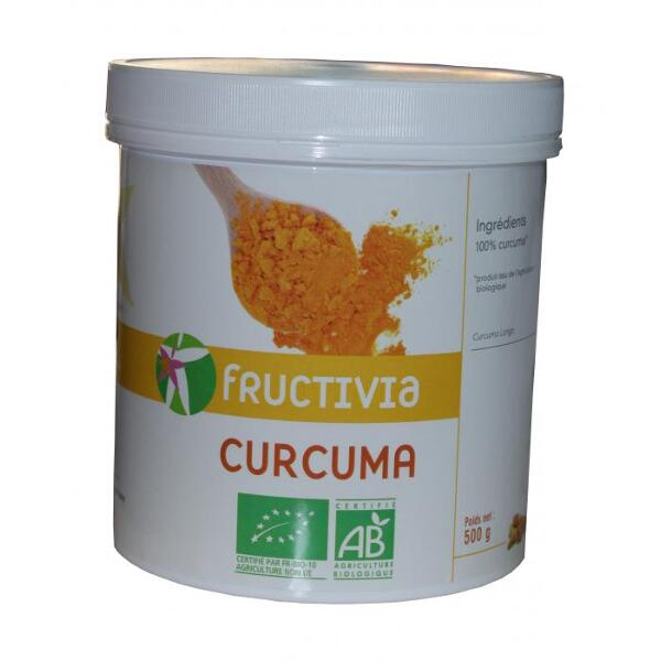 Pot de curcuma bio en poudre 500 g fructivia