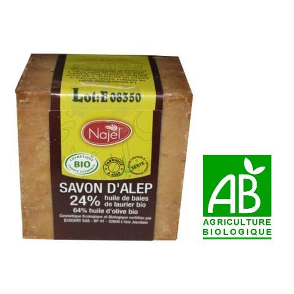Savon d'alep bio najel - 24 % huile de baies de laurier bio - 200 g