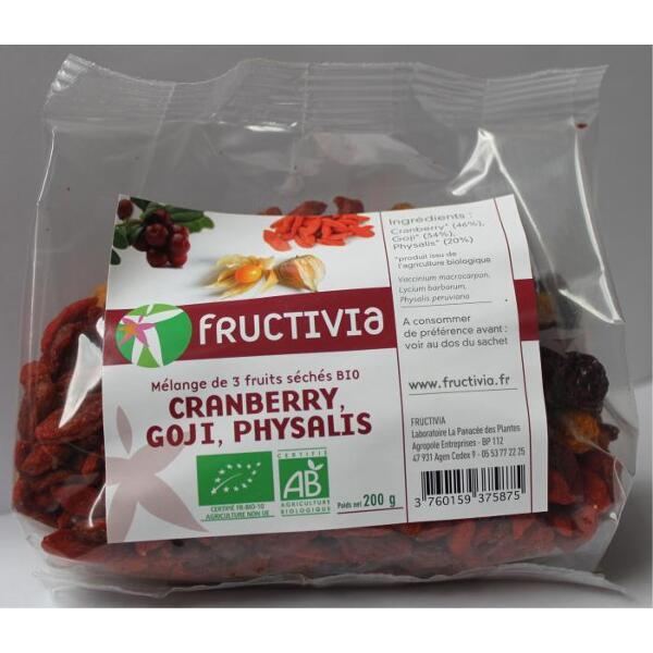 Mélange 3 fruits séchés bio: goji, cranberry, physalis