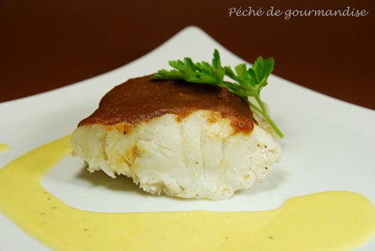 Cabillaud bio rôti en croûte de pain d'épices bio , purée de pomme de terre au lait de riz et à la l