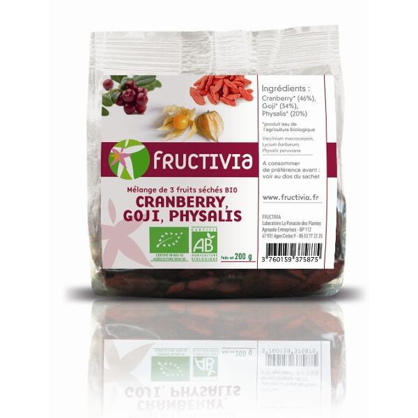 mélange 3 fruits bio: goji, cranberry, physalis
