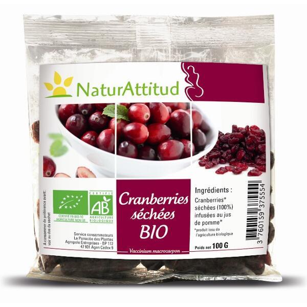 Cranberries séchées Entieres BIO - sachet de 100g - naturattitud