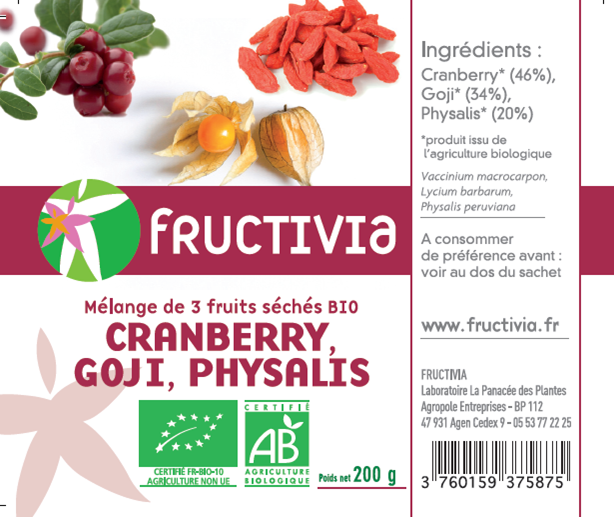 Mélange 3 fruits: goji, cranberries, physalis