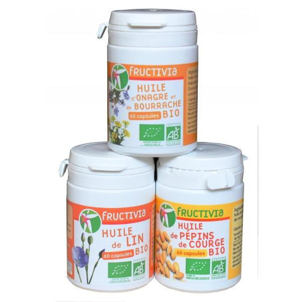 Lot de 3 piluliers Bio : huile d'onagre et bourrache bio, huile de lin bio et huile de pépins de courge bio - 60 capsules/pot FRUCTIVIA