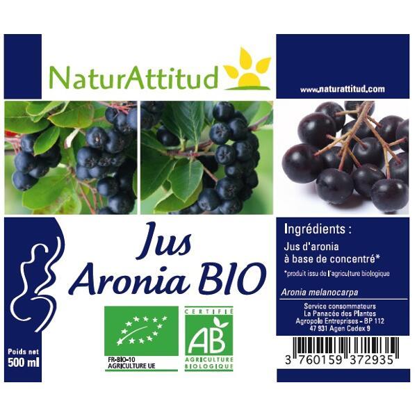 Jus d'aronia bio NaturAttitud - Aronia melanocarpa - 500 ml