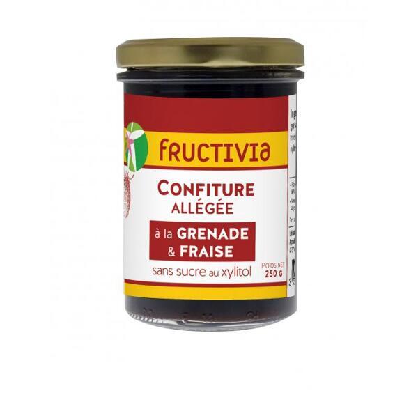 Confiture diététique à la grenade et fraise au xylitol - pot de 250g